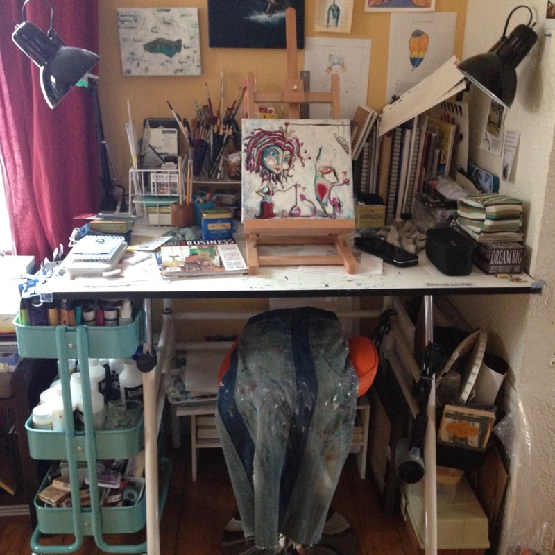 The art table I have been using for years filled with supplies and little room to create.
