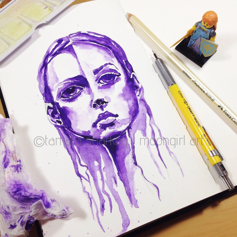 watercolour portrait monochrome