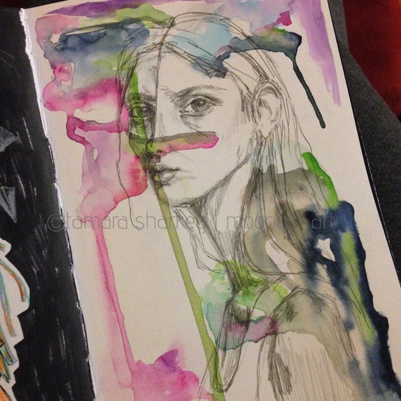 watercolour pencil portrait art journal