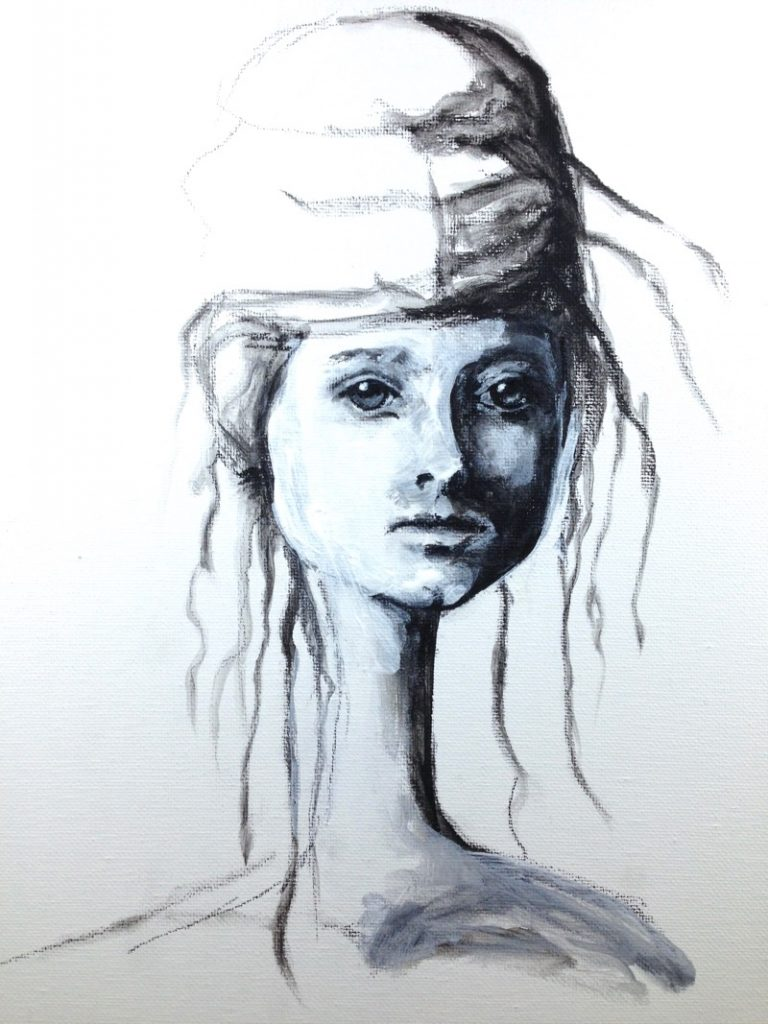 Charcoal and gesso sketch
