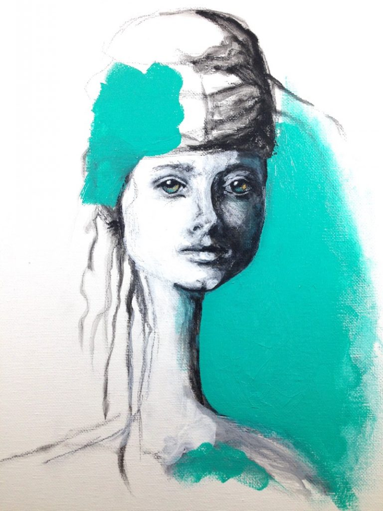 Charcoal and Aqua Green girl painting