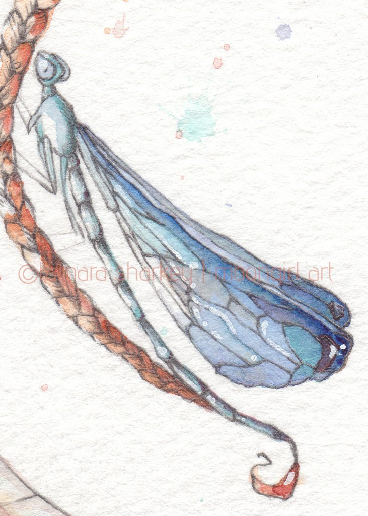Damselfly watercolour painting detail