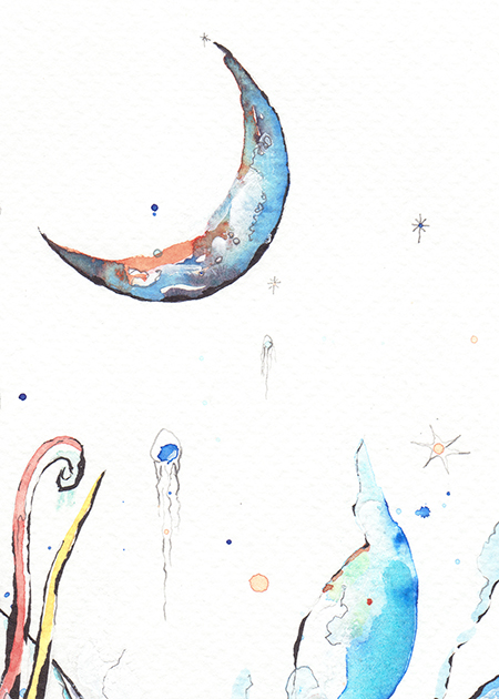 Flow moon watercolour detail