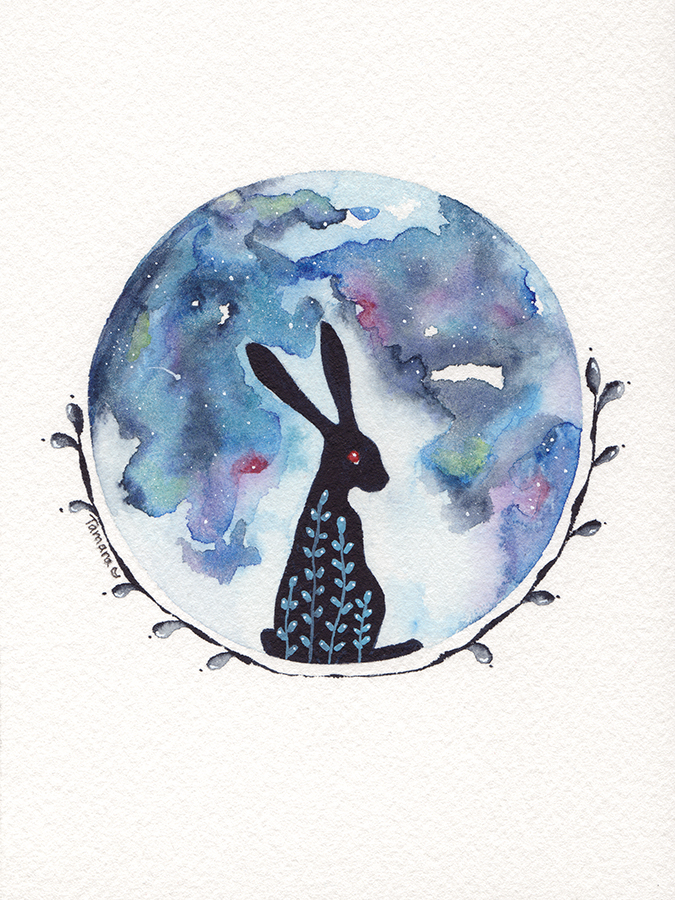 Blue Moon Hare Watercolour Painting