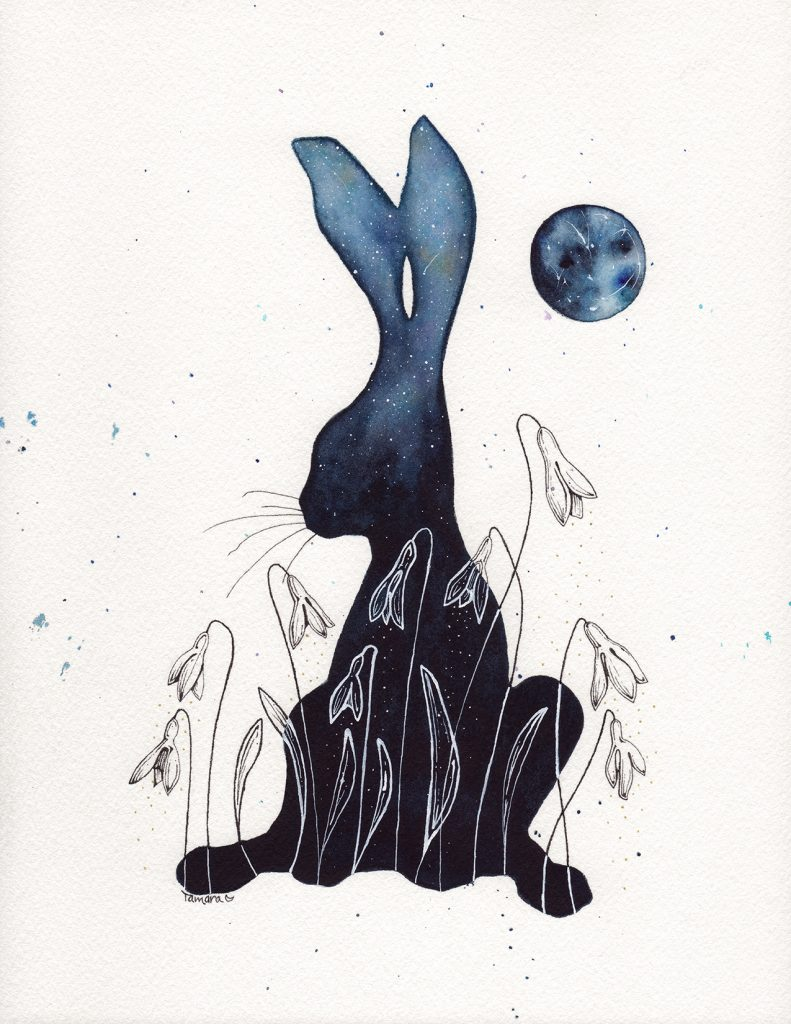 Snowdrop and the Moon Watercolour