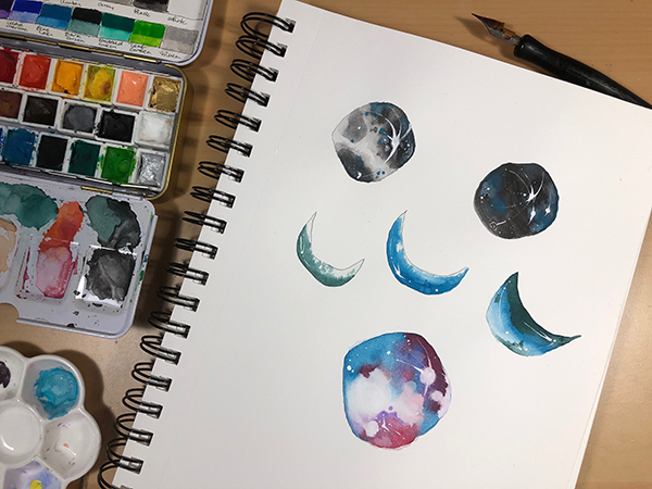 Painting Gouache Moons